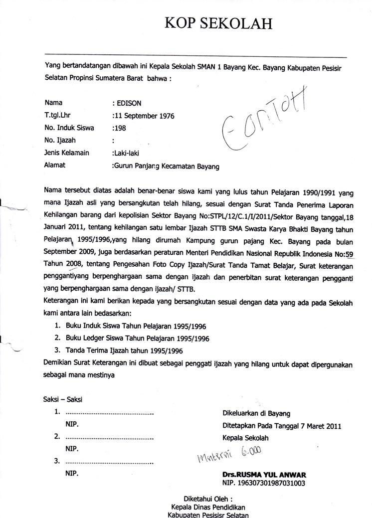 Surat Keterangan Pengganti Ijazah Hilang Tas Dmin Blog
